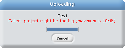 The message that appears if a project is over the size limit in Scratch 1.4.